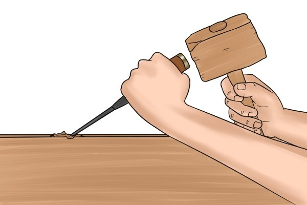 how to use a chisel to cut wood